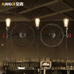 Loft Retro amerykański przemysł restauracja/bar pręt z żelaza koło żyrandol wiszące lampy oprawa suspendu