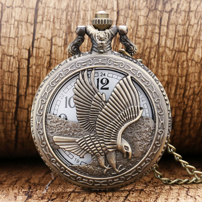 Retro Bronze Eagle Hawk Wing Hollow Quartz Pocket Watch Steampunk Necklace Pendant Chain Vintage Clock Gift For Women Men Boy