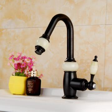 New luxury Black Oil Brush Brass Jade Body Water tap Bathroom Basin Faucet Deck Mounted Counter top Sink Mixer Tap Hot and cold hpb free shipping brass hot and cold water bathroom kitchen faucet mixer tap deck mounted basin sink torneira de cozinha hp4018