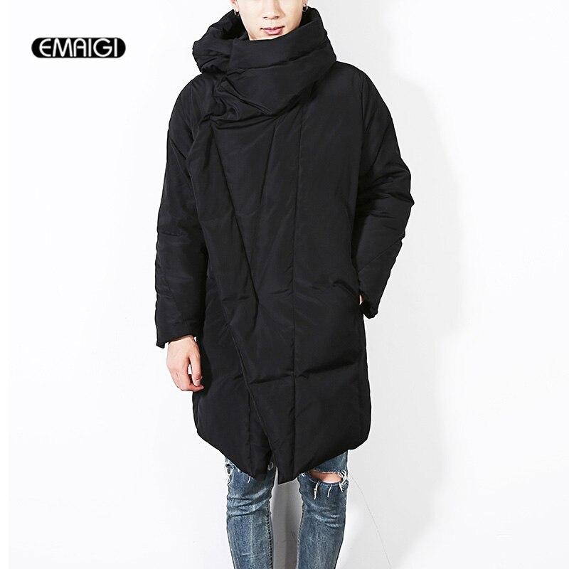 2016 Winter new men's jacket warm long men's hooded casual jacket cotton coat fashion punk cloak overcoat D01