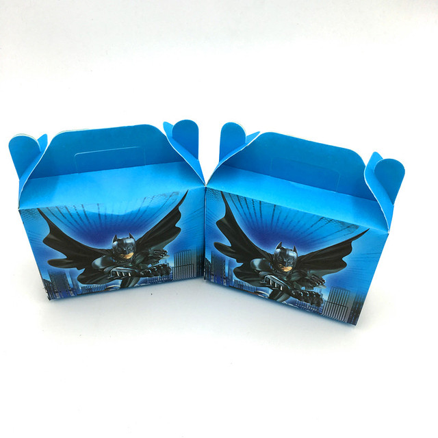 6PCS LOT BATMAN THEME CANDY BOX KIDS BIRTHDAY PARTY FAVORS GIFT BOXES