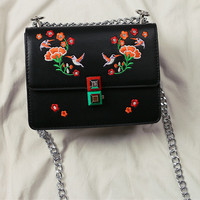 Famous Embroidery Printing Flower Women Messenger Bags High Quality Leather Shopping Bag Chain Single Shoulder Shell