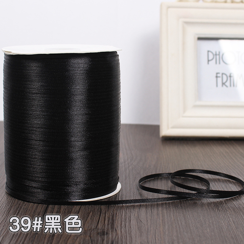 3 мм ширина бордовые атласные ленты 22 метра швейная ткань подарочная упаковка «сделай сам» ленты для свадебного украшения - Цвет: Black