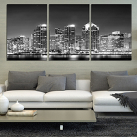 2016 Limited Top Fashion 3 Piece Wall Art The Most Beautiful City Night View Modern Picture