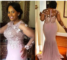 Plus Size Pink Long Sleeves 2019 Beaded Lace vestido de madrinha Evening prom gown Mermaid Formal Mother of the Bride Dresses