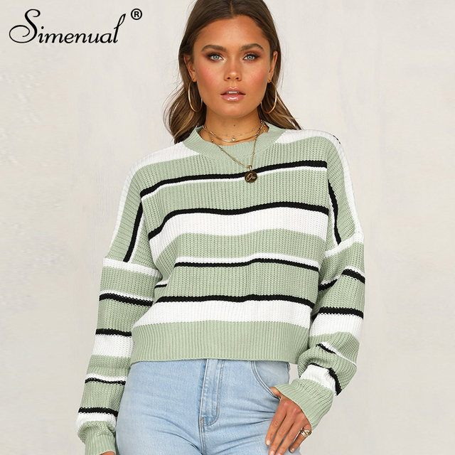 Simenual Striped Long Sleeve Women's Sweaters Knitwear Patchwork Fashion 2019 Pullover Casual Autumn Winter Loose Sweater Mujer