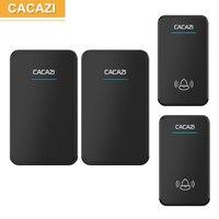 CACAZI 2 Waterproof Buttons 2 Receivers AC 100 220V Wireless Doorbell EU US UK Plug Door