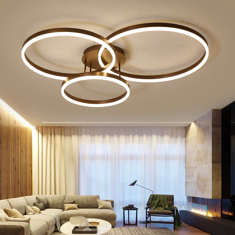 New Arrival designer Creative Circle rings modern LED ceiling lights for livingroom bedroom Remote control ceiling lamp fixtures circle