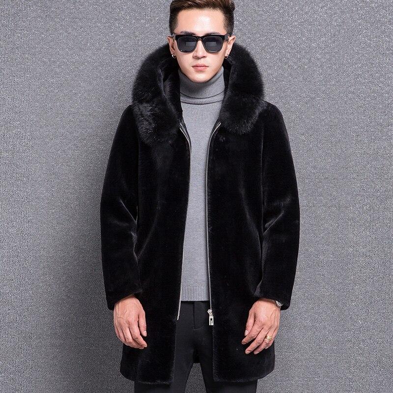 1768 Hiver Avec Capuchon Nouveau Moutons Laine Vêtements Manteau De Renard Fourrure Homme À Hommes Mode 25 Noir Mâle 1ttwBrqF