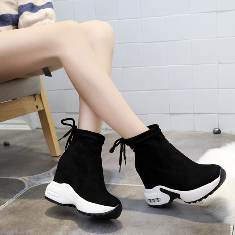 COOTELILI Fashion Increasing Shoes Women High Heels Ankle Boots For Women Autumn Winter Rubber Boots Women Pumps Ladies 35-39 (1)