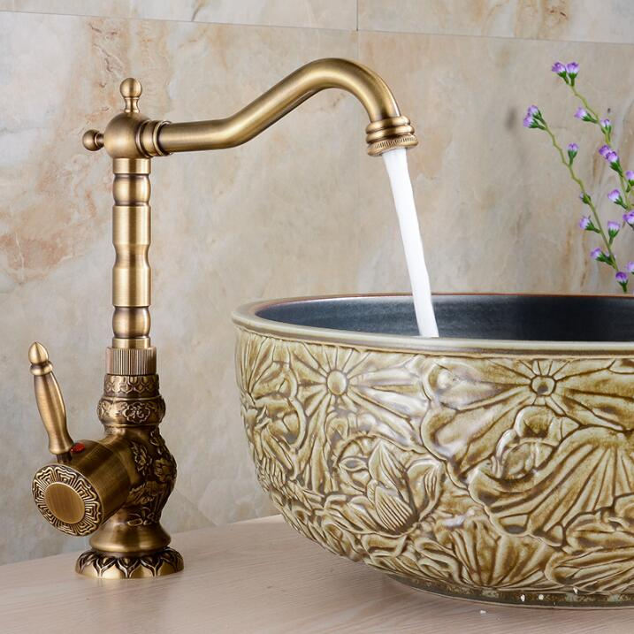 Newly Free Shipping Wholesale And Retail Deck Mounted Vintage Antique Brass Bathroom Sink Basin Faucet Mixer Tap free shipping wholesale and retail water tap black antique brass bathroom basin faucet tap swivel spout vanity sink mixer