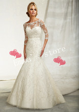 MORI-New Hot Free Shipping Fashion Custom Made 2013 Lace Jacket Mermaid Floor Length Train Bodice White Weddding Gowns Dres