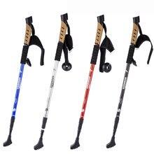 1 Pair Professional Nordic Hiking Sticks Cork Handle 3 Sections Shockproof Walking Cane Trekking Poles Climbing Sticks On Sale