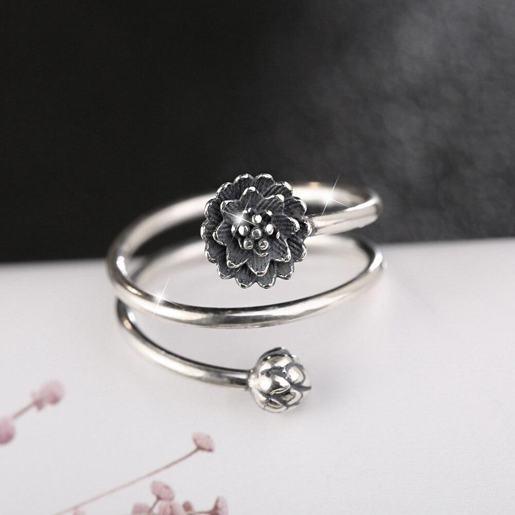 Women 3-Row Multi-layer Lotus Flower Ring Vintage Namaste Yoga Fine Jewelry Gifts CX17