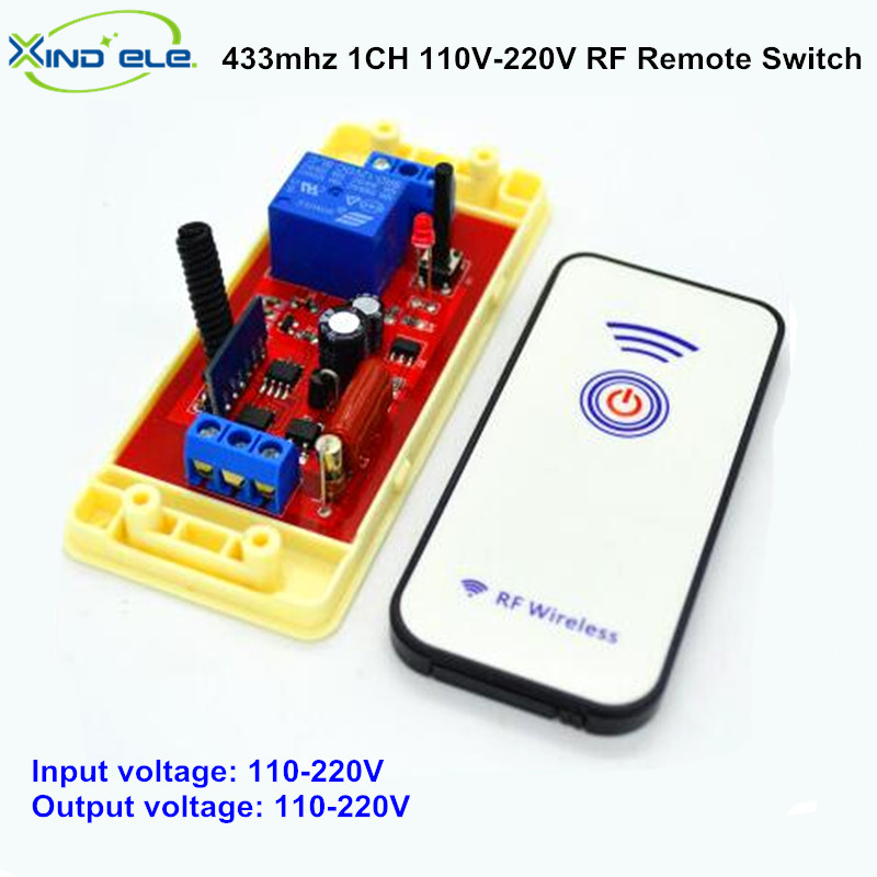 Wireless Remote Control Light Switch 10A Relay Output Radio AC 110V 220V 1 Channel Receiver Module + 433mhz RF Transmitter