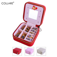 Collare Jewelry Storage Organizer Box Travel Zipper Cosmetic Case Mirror Leather Women Decoration Wedding Gift Box