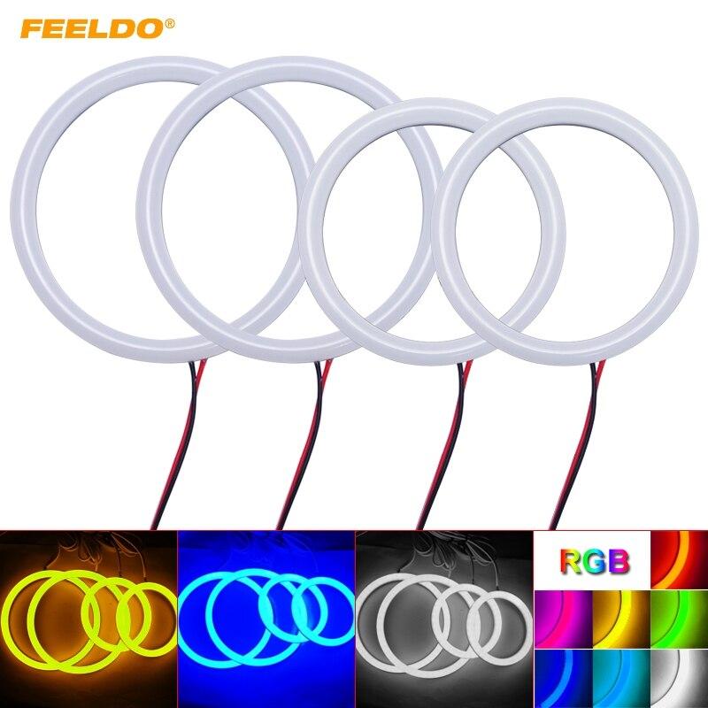 FEELDO 2X100mm 2X80mm Auto Halo Rings Cotton Lights SMD LED Angel Eyes for VW Magotan Running Light #HQ4697