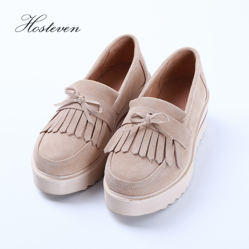Hosteven Women's Shoes Genuine Leather Flats Moccasins Oxford Mother Girls Slip On Casual Shoes Women Shoes