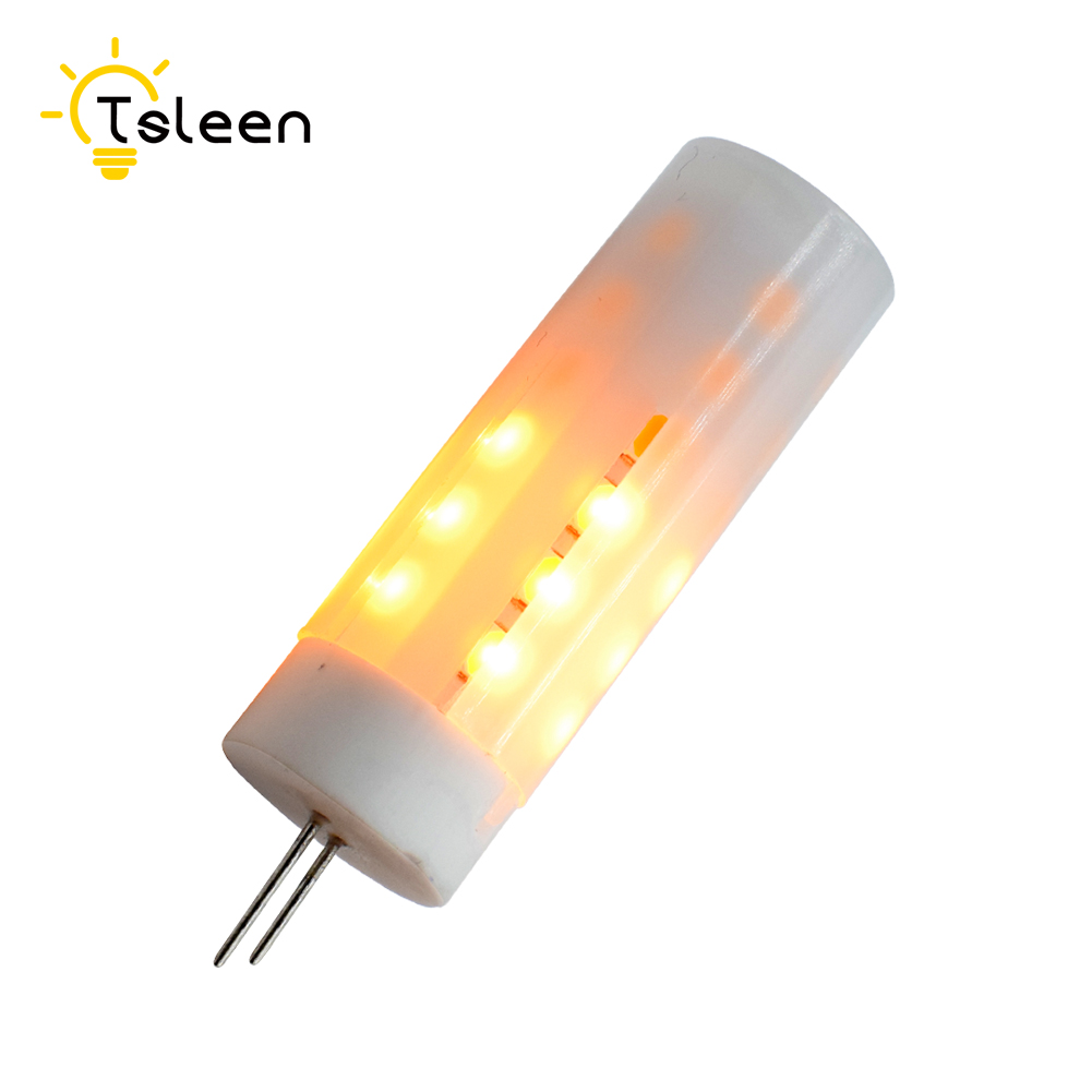 G4 12V LED Flame Fire Light Effect Simulated Nature 2835 Led Corn Bulbs Decoration Lamp Bar,Hotel Bedroom Dynamic Moving Flame