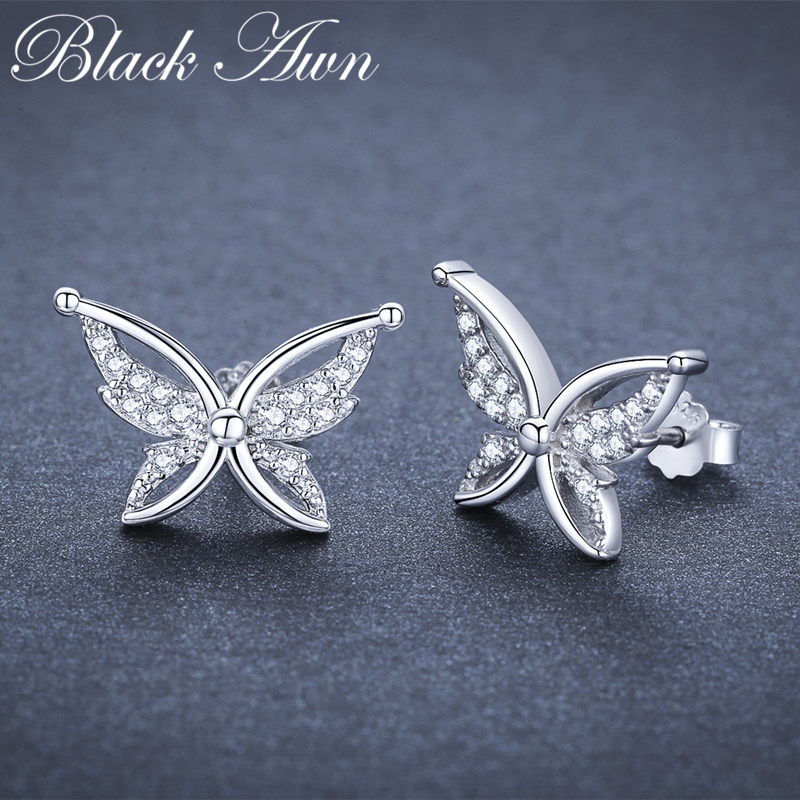 Black Awn Romantic 1.9g 925 Sterling Silver Jewelry Natural Butterfly Party Stud Earrings for Women Bijoux I111Black Awn Romantic 1.9g 925 Sterling Silver Jewelry Natural Butterfly Party Stud Earrings for Women Bijoux I111