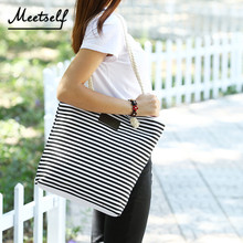 MEETSELF 2018 New Fashion Ladies Handbags Women Canvas Shoulder Bag Portable Beach Large Capacity Striped Casual H1