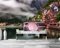 טפט 3d בניין עיר צילום בתי אגם החוף, ספת טלוויזיה בסלון חדר השינה של מסעדת קיר ציור קיר מטבח papel דה פארדה