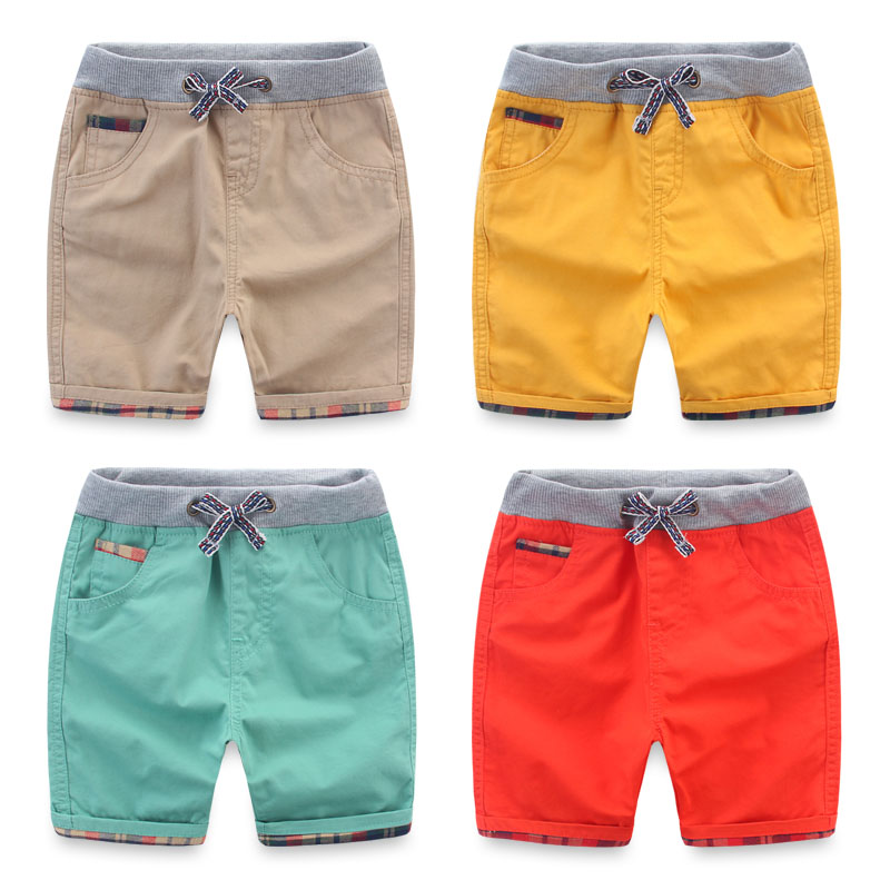 High Qualitiy Cotton Casual Kids Boys Shorts Elastic Waist Solid Color Drawstring Short Pants 2016 Summer Brand Children Shorts wallet