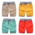 Alta Qualitiy Algodão Casual Crianças Meninos Shorts de Cintura Elástica Cor Sólida Cordão Calças Curtas 2017 Verão Marca Crianças Calções