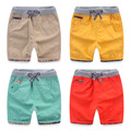 High Qualitiy Cotton Casual Kids Boys Shorts Elastic Waist Solid Color Drawstring Short Pants 2017 Summer Brand Children Shorts