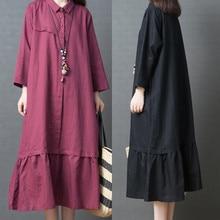 Women Summer Dress Long Big Code Girls Pure Color Cotton and Linen Sleeve Shirt L410A