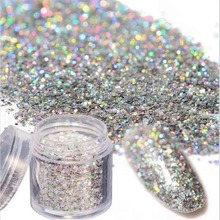 10ML/Pot Holographic Laser Glitter Nail Art Powder Dust Mixed Size Silver Hexagon Sequins Manicure