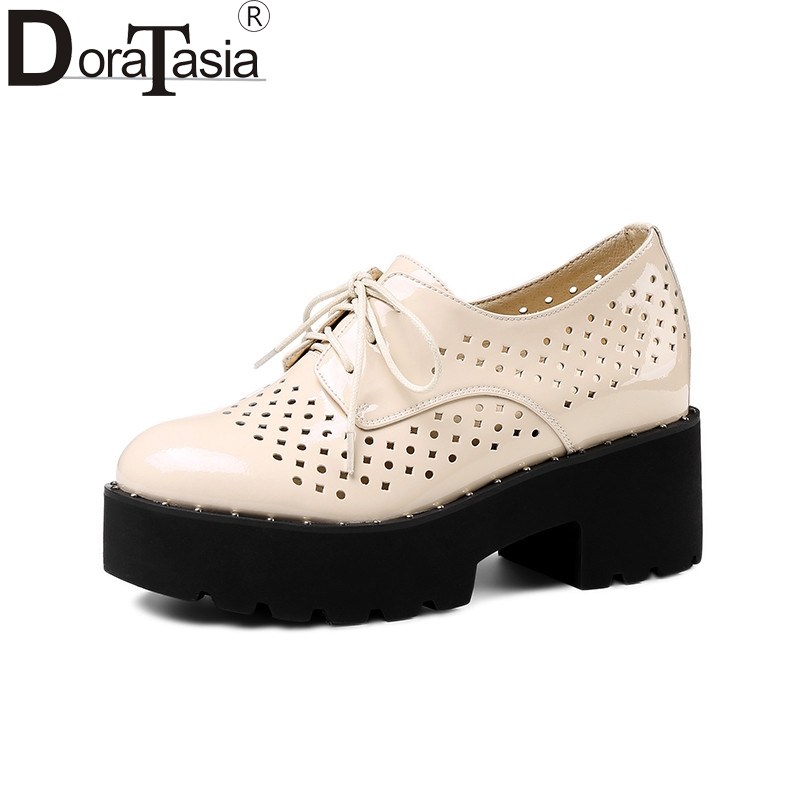 DoraTasia 2018 summer leather lining women flat platform shoes woman lace-up hollow breathable women height increasing shoe summer women shoes casual cutouts lace canvas shoes 2017 hollow floral breathable platform flat shoe
