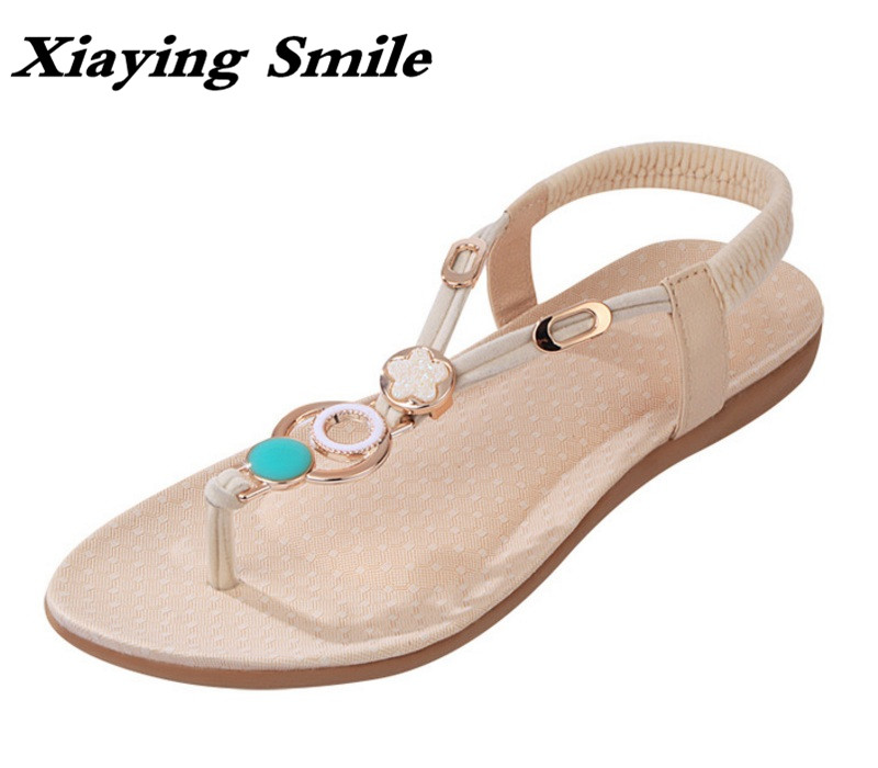 Xiaying Smile Summer Woman Sandals Casual Fashion Women Flats Solid Shoes Bohemian Style Beach Slip On String Bead Women Shoes xiaying smile summer new woman sandals platform women pumps buckle strap high square heel fashion casual flock lady women shoes