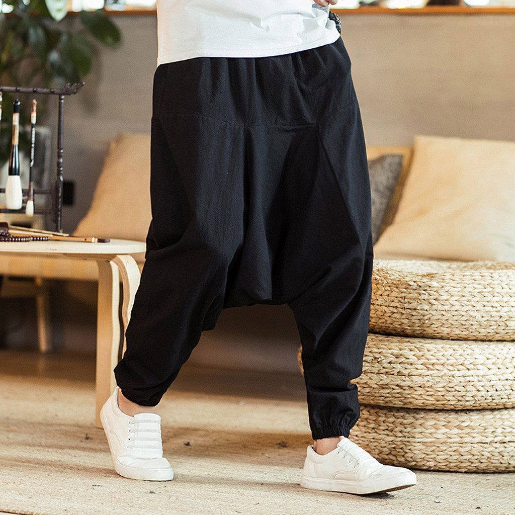 Loose Pants Aladdin Leg-Trousers Linen Hip-Hop Baggy Plus-Size Cotton Casual Hmong Wide