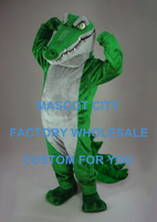 Long Mouth White Belly Green Crocodile Mascot Outfit Suit,River Animal Mascotte Mascota, Carnival Cosply Costumes SW482