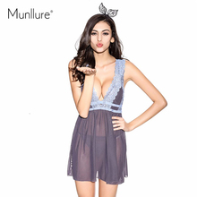 Blue gray silky transparent gauze lace suit sexy Camisole dress luxury V deep sleep