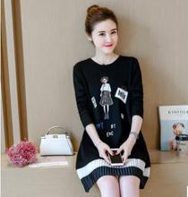 Мультфильм по беременности и родам платья осень 2020 новый корейский мода большой размер хлопок одежда для беременных платье для беременных женщин