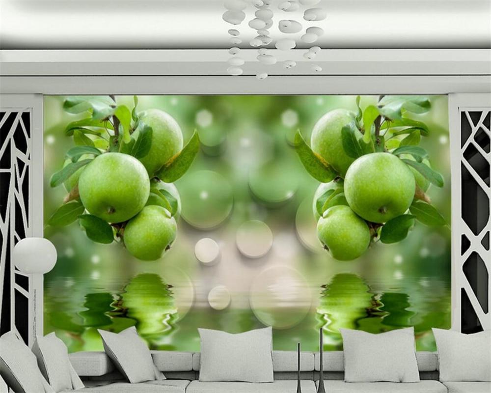 Beibehang photo wall mural 3d wallpaper Midsummer green fruit water reflection background fashion wall decoration wallpaper