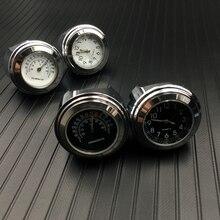 """Водонепроницаемые 7/"""" хромированные мотоциклетные часы с креплением на руль, кварцевые часы для Honda Для Yamaha для Suzuki для Kawasaki"""