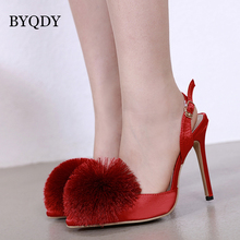 BYQDY Summer Ankle Buckle Strap Tassel Stud Heels Pumps Fashion Office Lady Shoes Woman Wedding Bride Comfortable Black