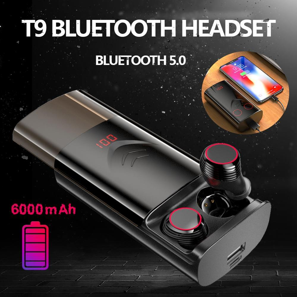 Wireless Bluetooth 5.0 <font><b>T9</b></font> <font><b>TWS</b></font> Headset Earbuds Stereo HIFI Noise Reduction Earphones With 6000mAh Charging Case Waterproof image