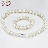 SNH 12 13mm A white color near round 925silver 20inches &8.5inches freshwater pearl sets,women set wholesale