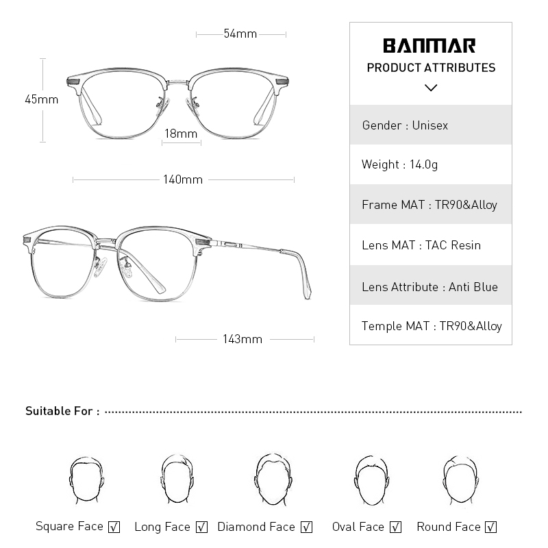 BANMAR DESIGN Men TR90 Glasses Frame Ultralight Square Eye Myopia Prescription Eyeglasses Male Half Optical Frame Oculos 5054 in Men 39 s Eyewear Frames from Apparel Accessories
