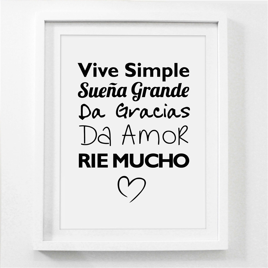 spanish vive simple quotes art print poster life quote canvas