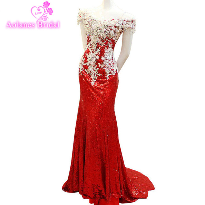AOLANES Robe De Soiree Lace Full Beaded Crystals Sexy Long   Evening     Dress   Elegant Formal Mermaid Red Sequins Prom Party   Dresses