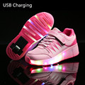 Girls/Boys Jazzy  Child LED Light  Children Roller Skate Shoes, Kids Sneakers With Single Wheels,USB Charging