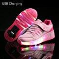 Meninas/meninos jazzy led crianças luz criança roller skate shoes, caçoa as Sapatilhas Com Rodas Simples, o Carregamento por USB