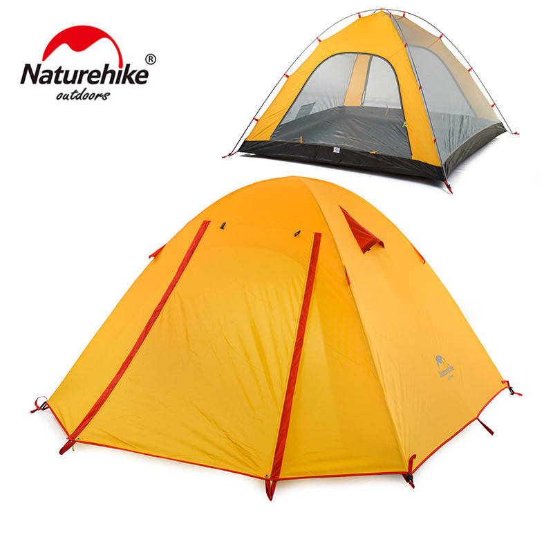 Naturehike Outdoor Camping Tent 2 3 Person Waterproof 5000mm Aluminum Rod 4 Person Hiking Fishing Tourism Family Tent NH15Z003-P
