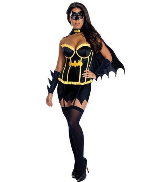 Mujeres Batman de Halloween Sexy Traje de Adultos Vestido con Capa Máscara de Sc