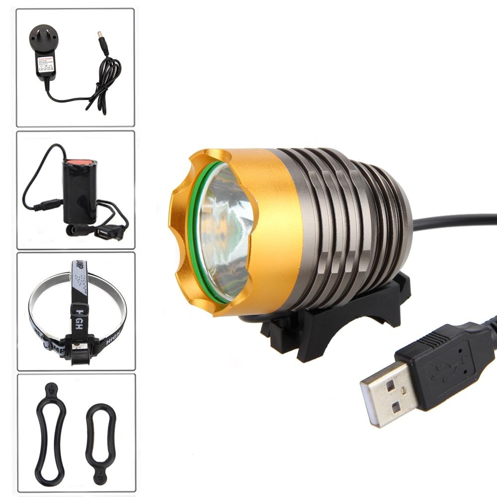 Hliníkový světlomet 3000LM XML T6 LED cyklistická světla USB - Cyklistika